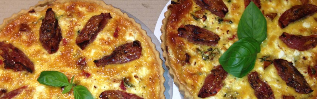 Rustic Gourmet's Savoury tart with caramelised onion, roast pumpkin and goat curd