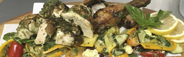 Jacob's Creek Visitor Centre Roast Free Range Greenslade Chicken with Green Sauce, Zucchini and Barossa Valley Cheese Company Feta