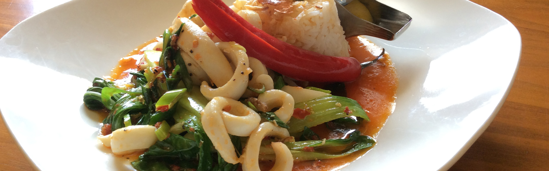 Inland Sea Restaurant fresh sauteed squid with bok choy
