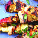 peach, halloumi & chicken skewers